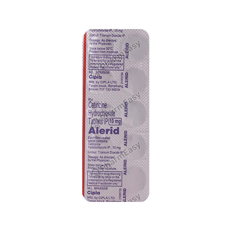 Alerid 10mg Strip Of 10 Tablets
