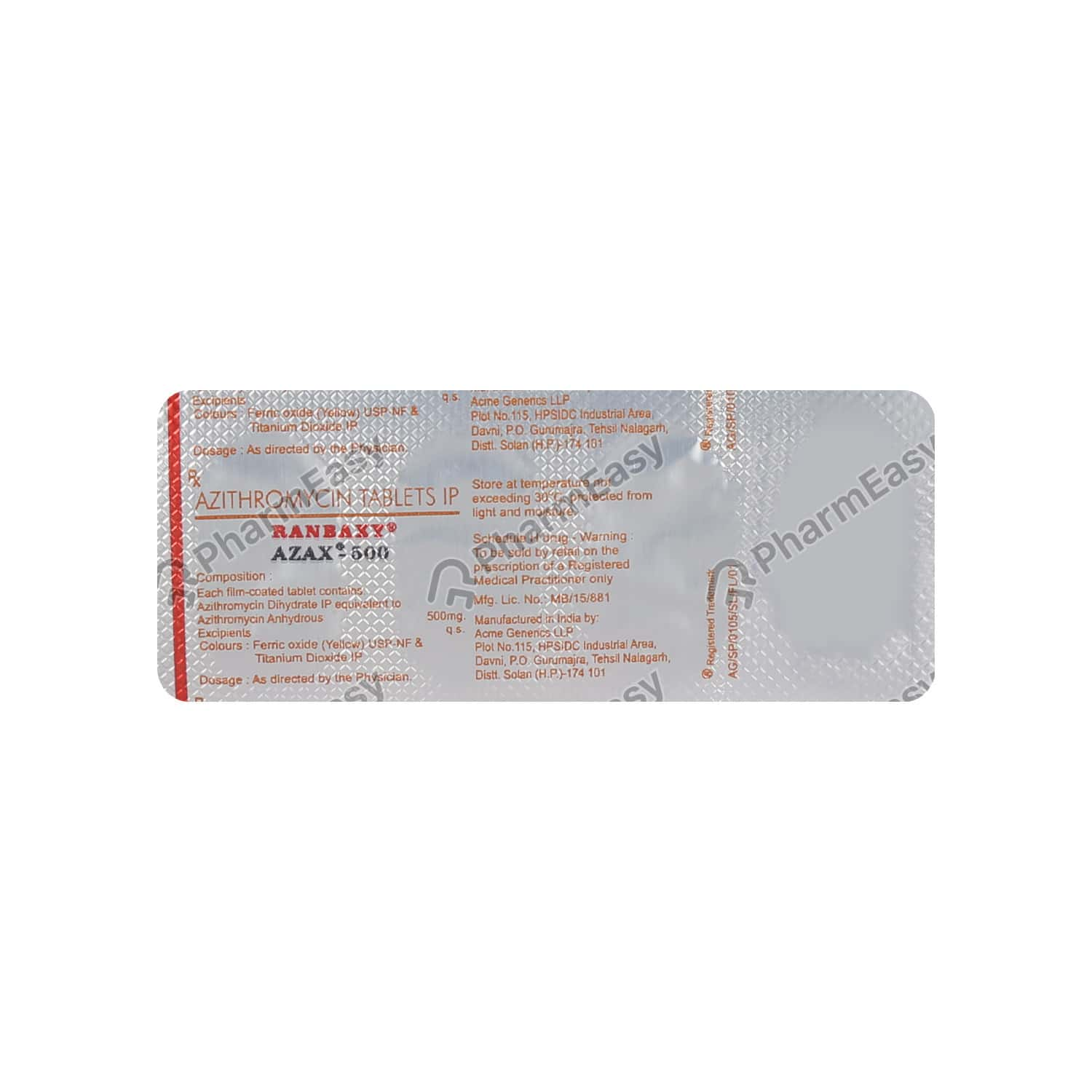 Azax 500mg Tablet