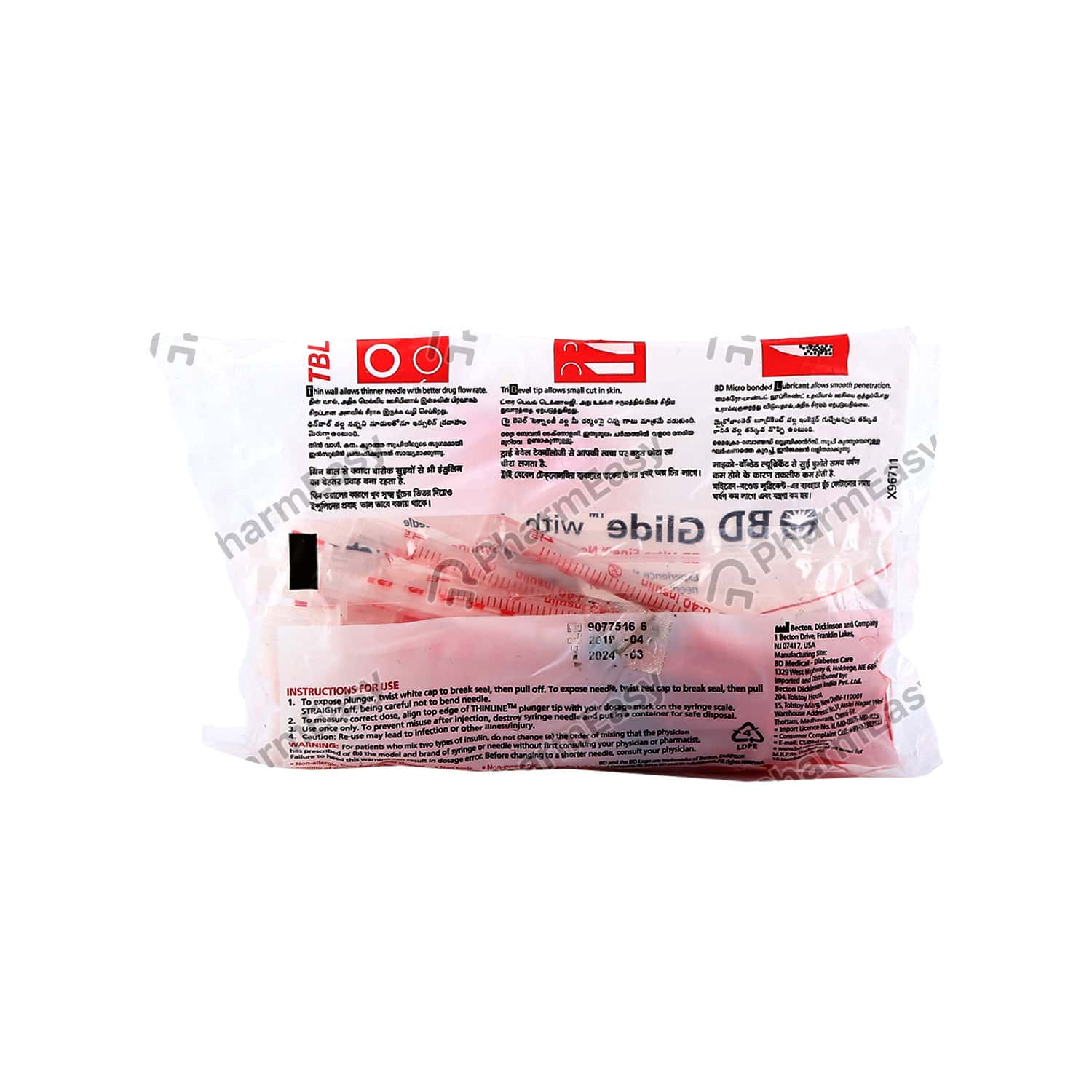 Bd Glide Ultra Fine 40iu Packet Of 1*10 Red Syring