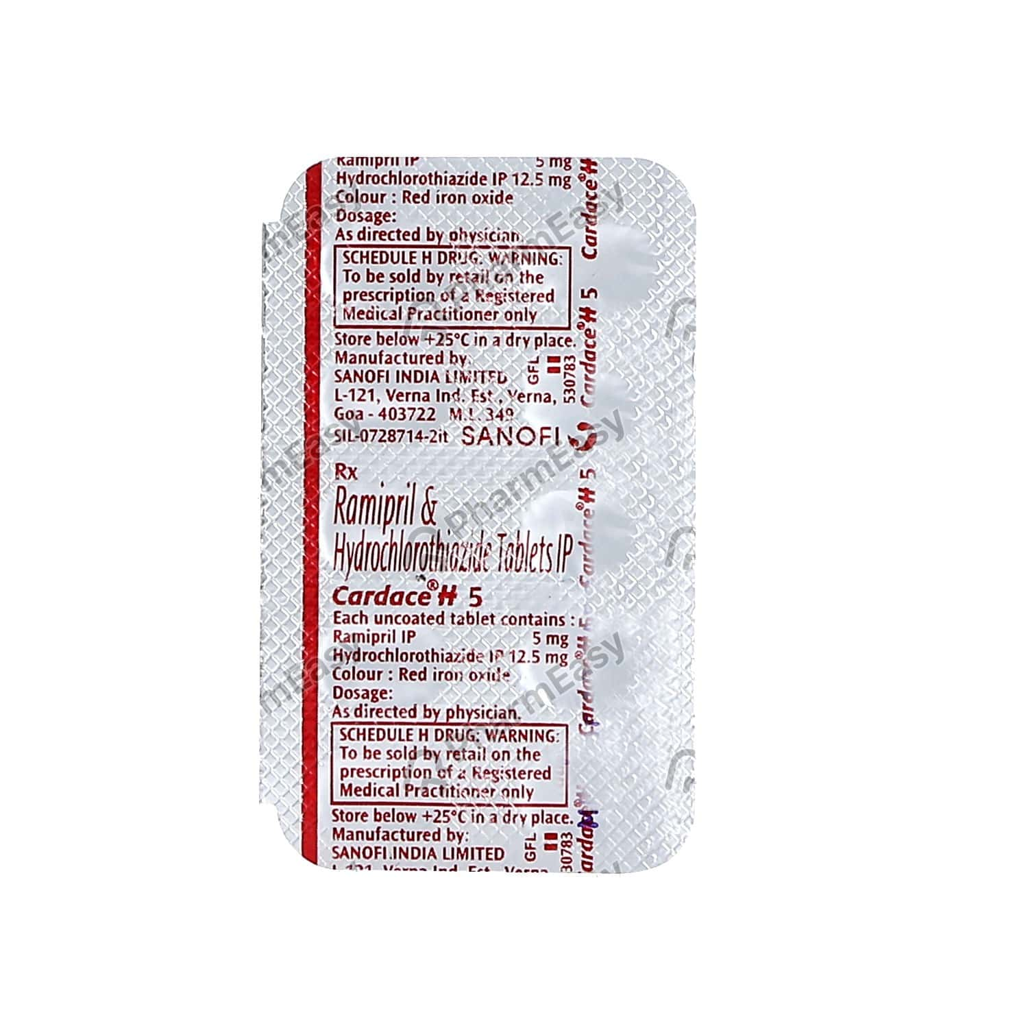Cardace H 5mg Strip Of 10 Tablets