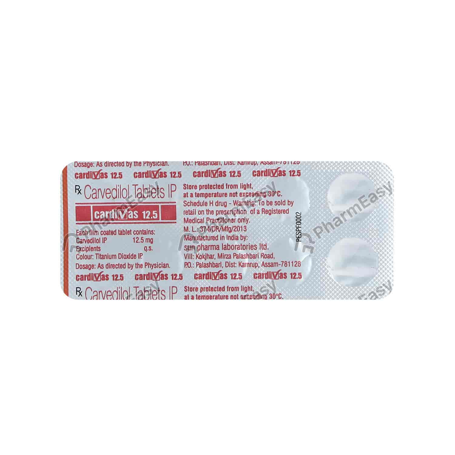 Cardivas 12.5mg Strip Of 10 Tablets