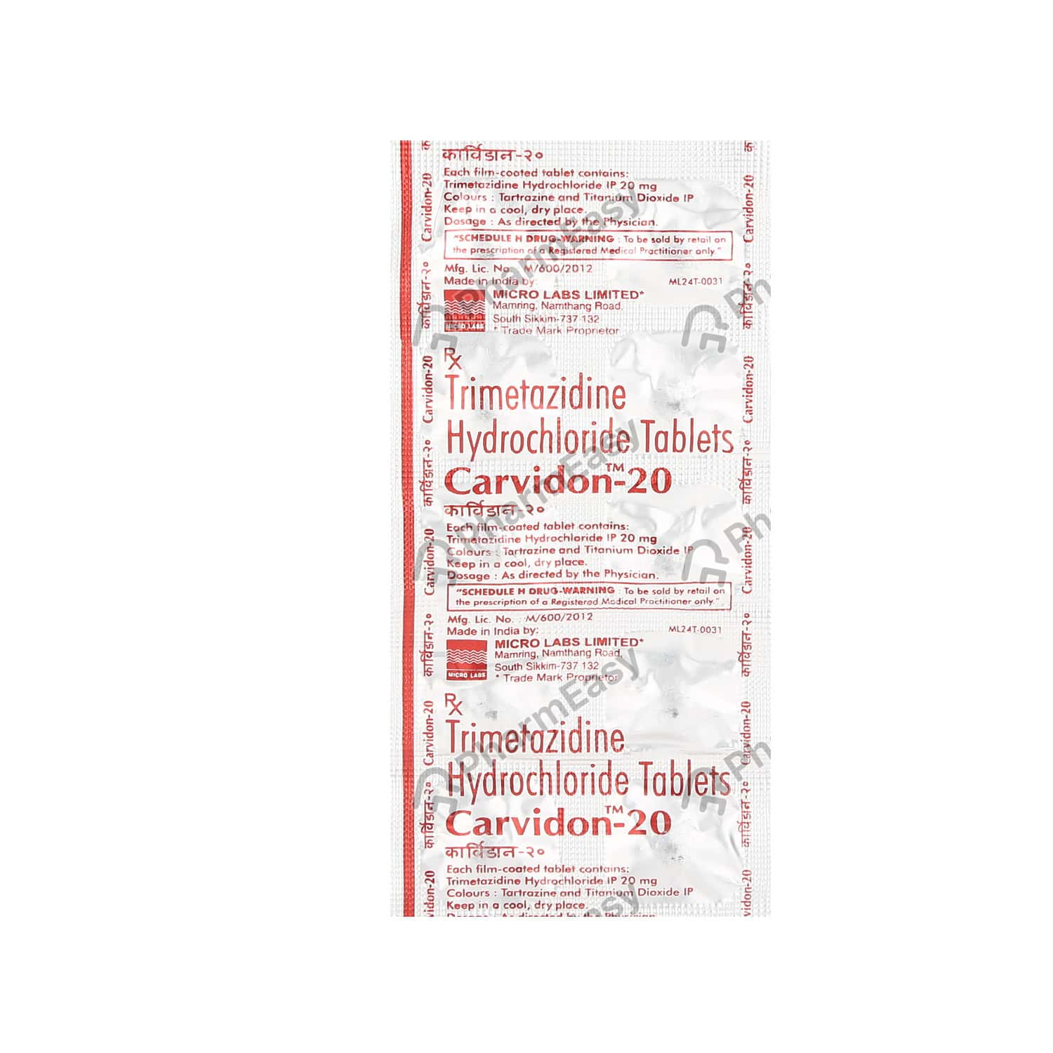 Carvidon 20mg Tablet