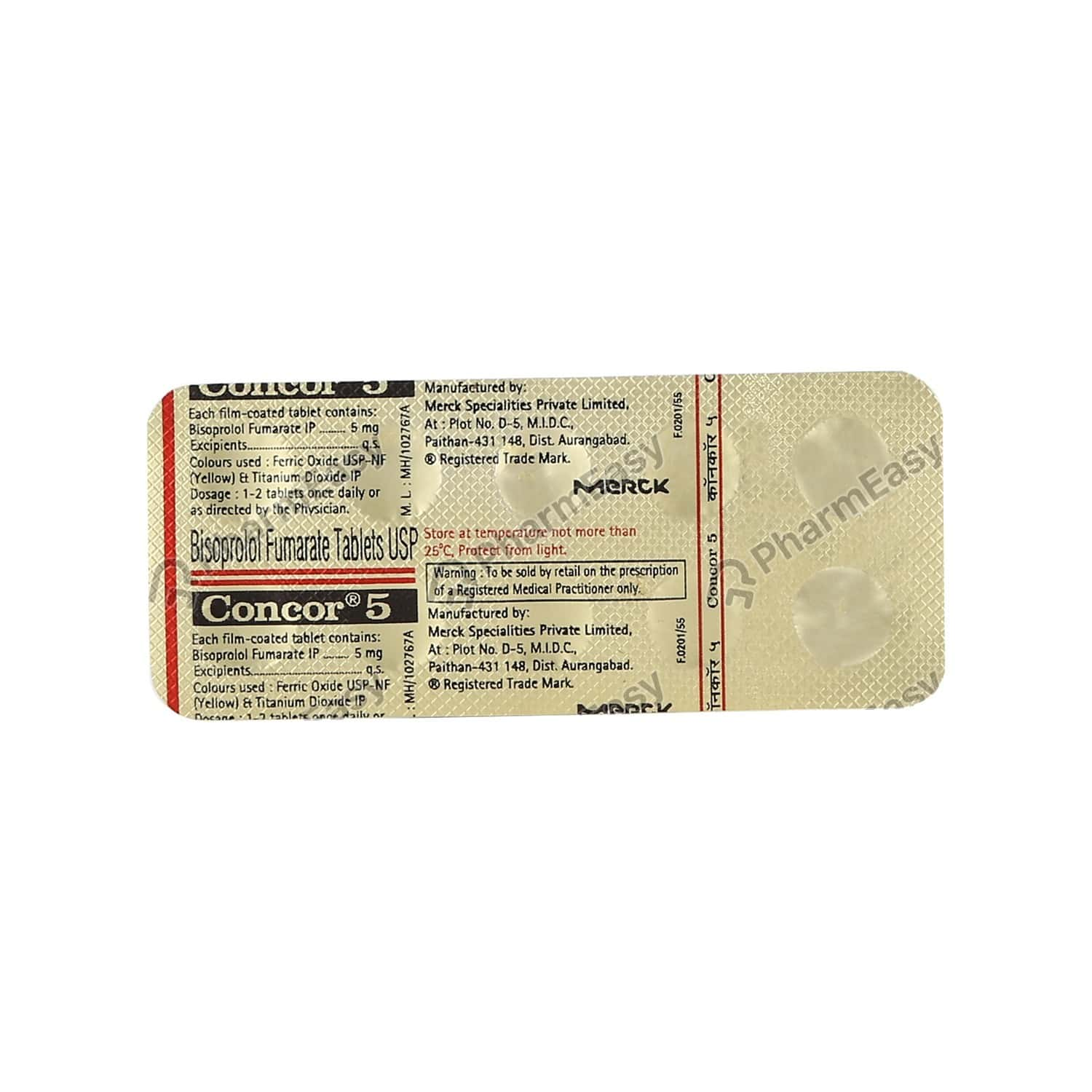 Concor 5mg Strip Of 10 Tablets