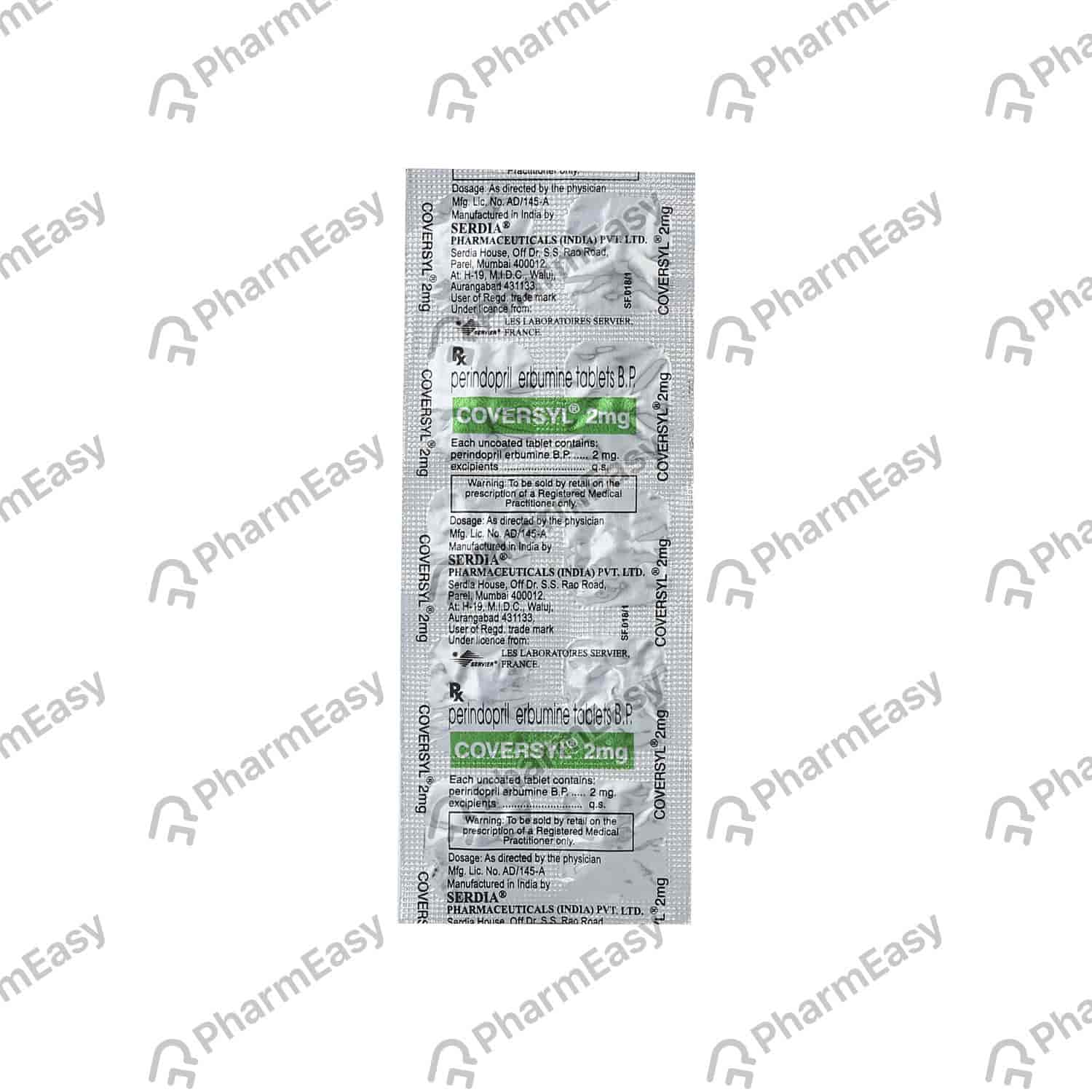Coversyl 2mg Strip Of 10 Tablets