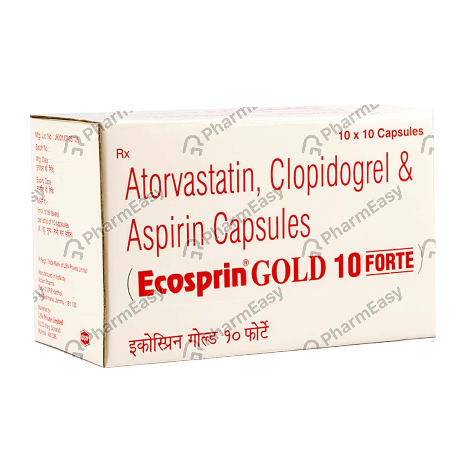 Ecosprin Gold 10mg Forte Strip Of 10 Capsules