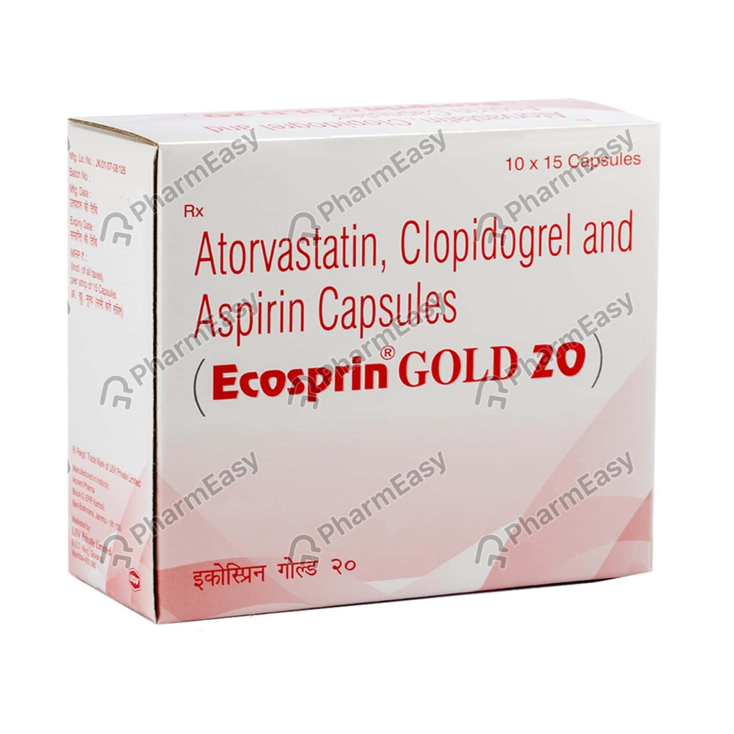 Ecosprin Gold 20mg Strip Of 15 Capsules