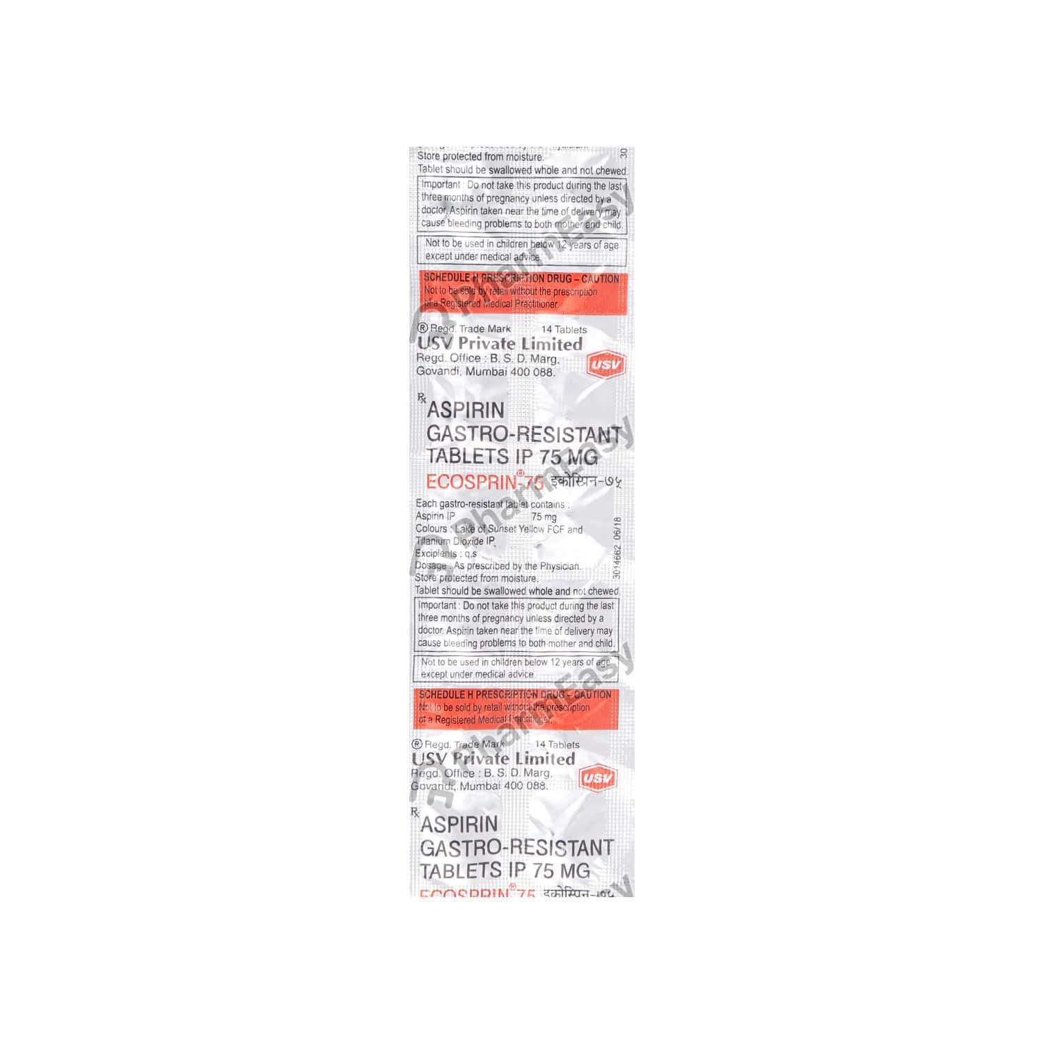 Ecosprin 75mg Strip Of 14 Tablets