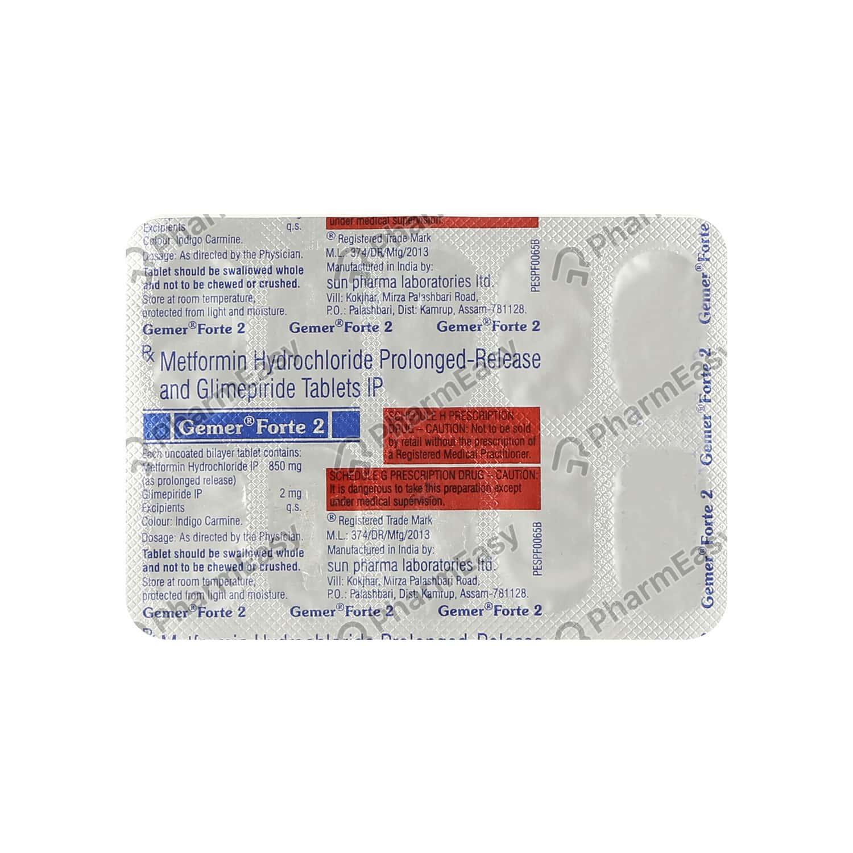 Gemer Forte 2mg Strip Of 10 Tablets