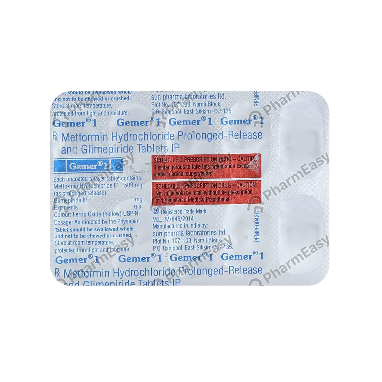 Gemer 1mg Strip Of 10 Tablets