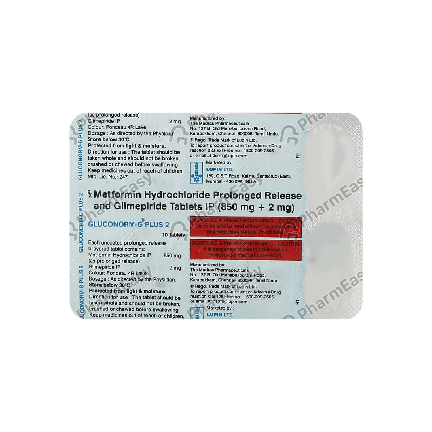 Gluconorm G Plus 2mg Tablet 10's