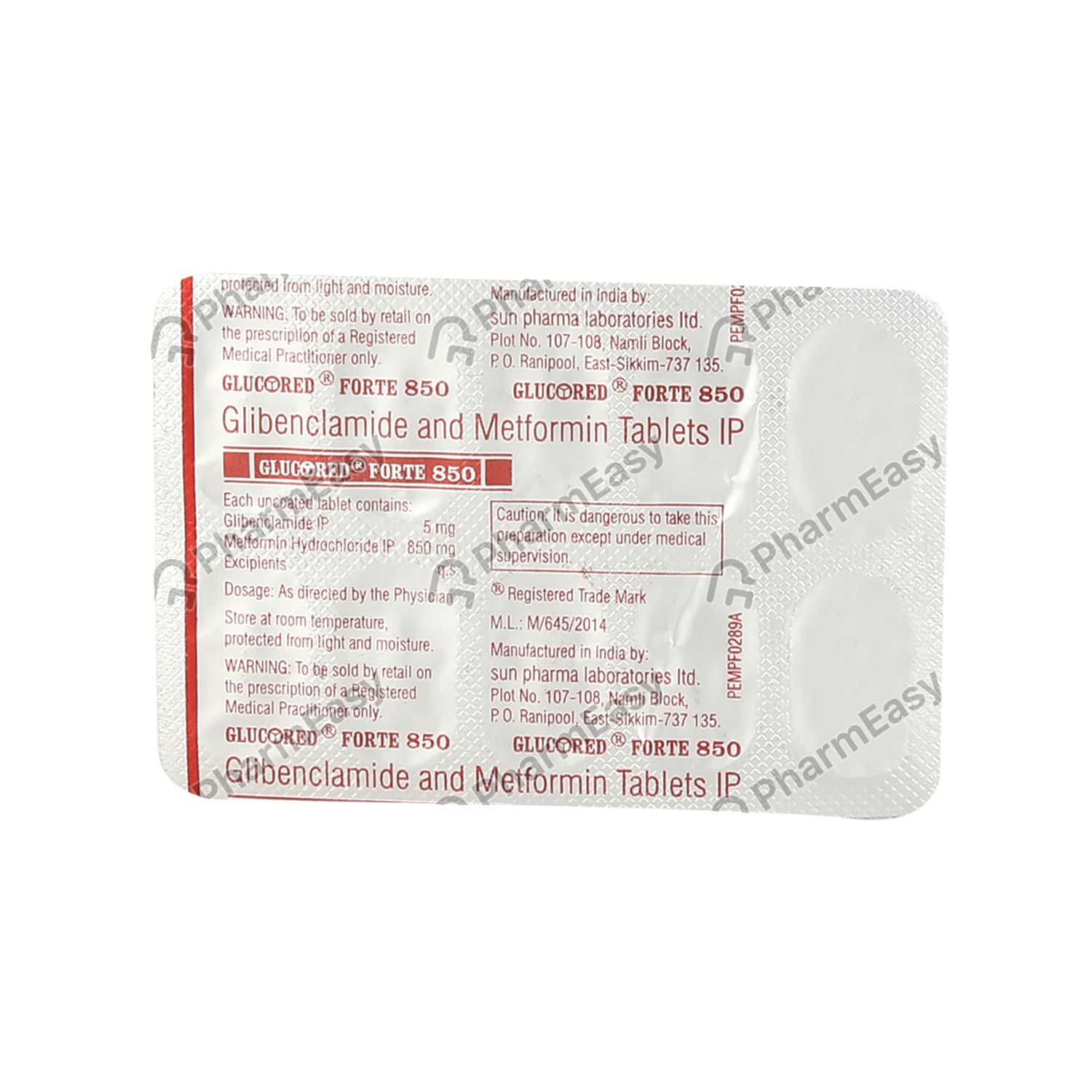 Glucored Forte 850mg Strip Of 10 Tablets