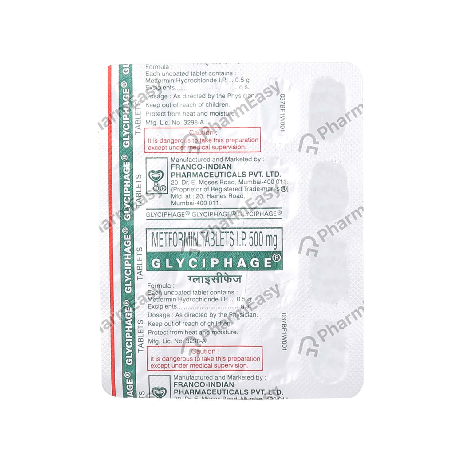 Glyciphage 500mg Strip Of 20 Tablets