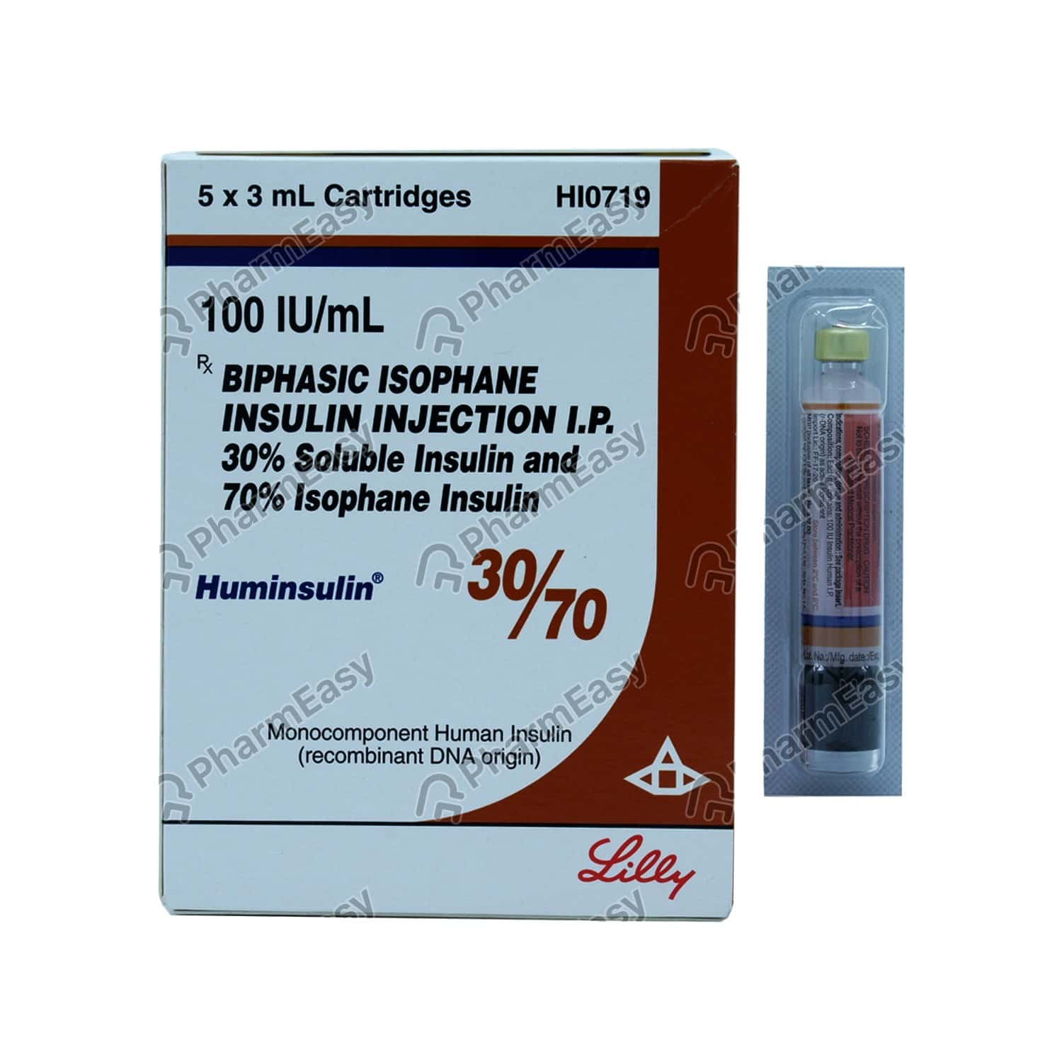 Huminsulin 30/70 100iu/ml Cartridge Of 3ml Suspension For Injection