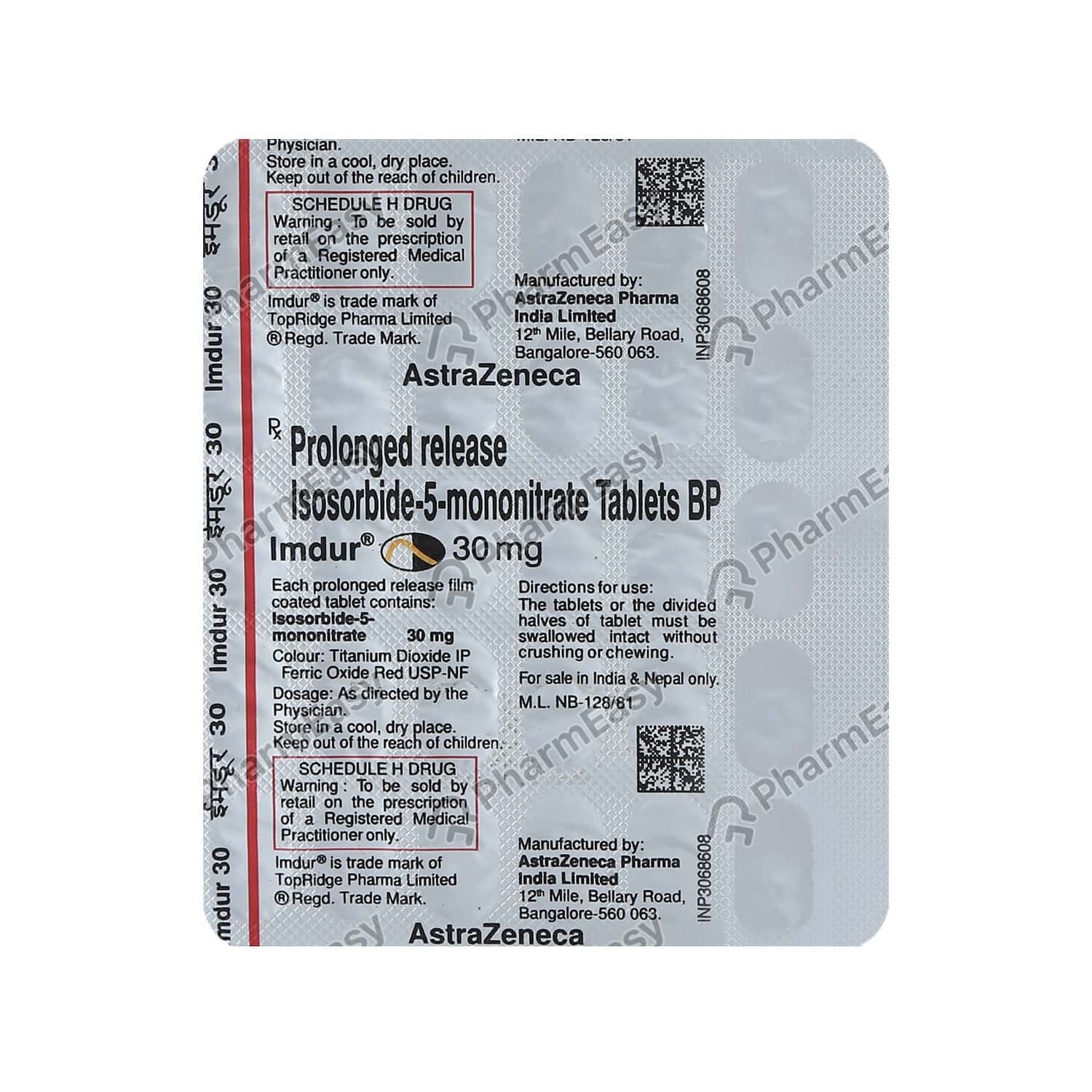 Imdur 30mg Strip Of 30 Tablets