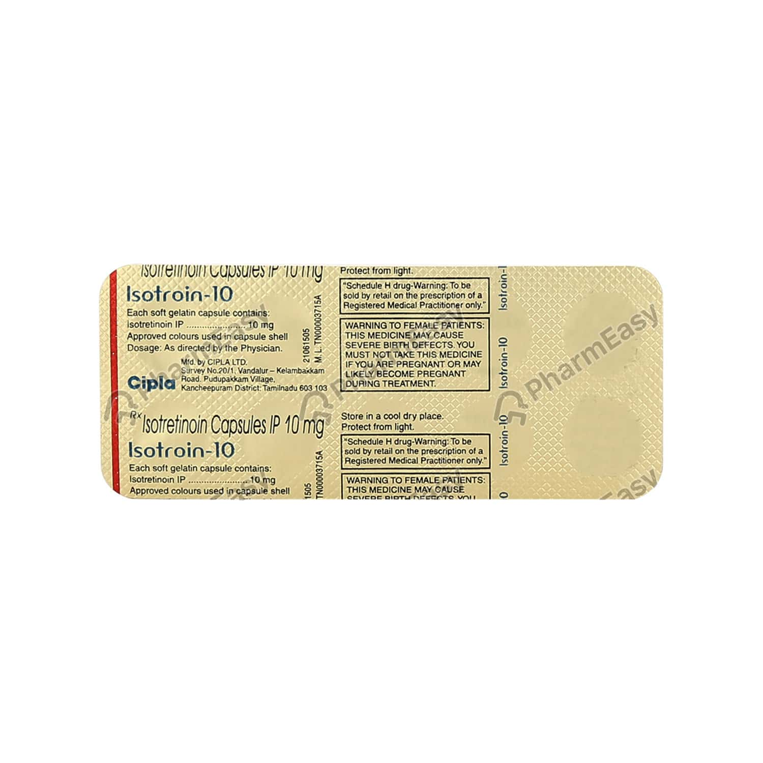 Isotroin 10mg Strip Of 10 Capsules
