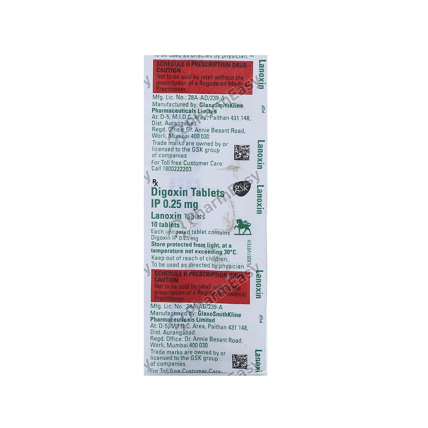 Lanoxin 0.25mg Strip Of 10 Tablets