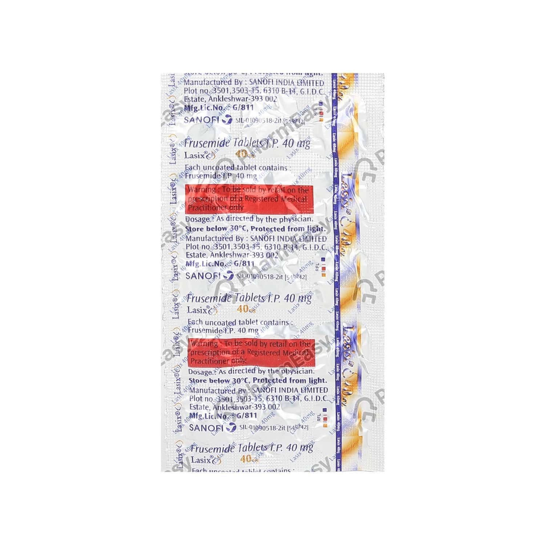 Lasix 40mg Strip Of 15 Tablets