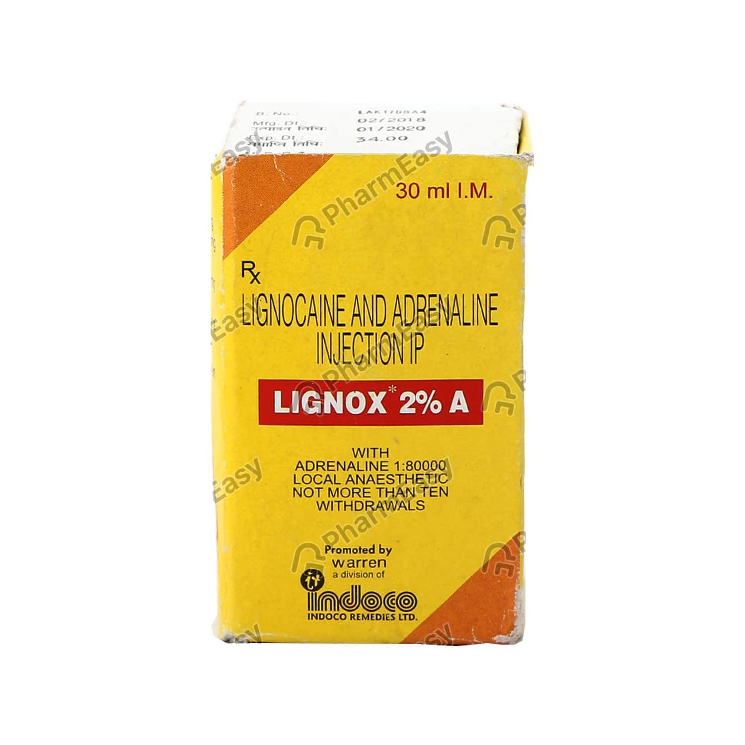 Lignox 2% A Vial Of 30ml Solution For Injection