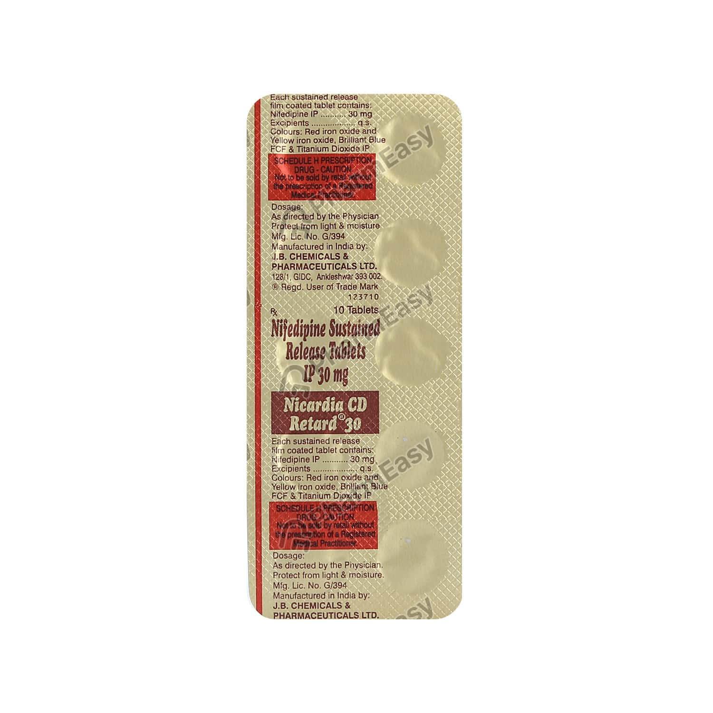 Nicardia Cd Retard 30mg Strip Of 10 Tablets