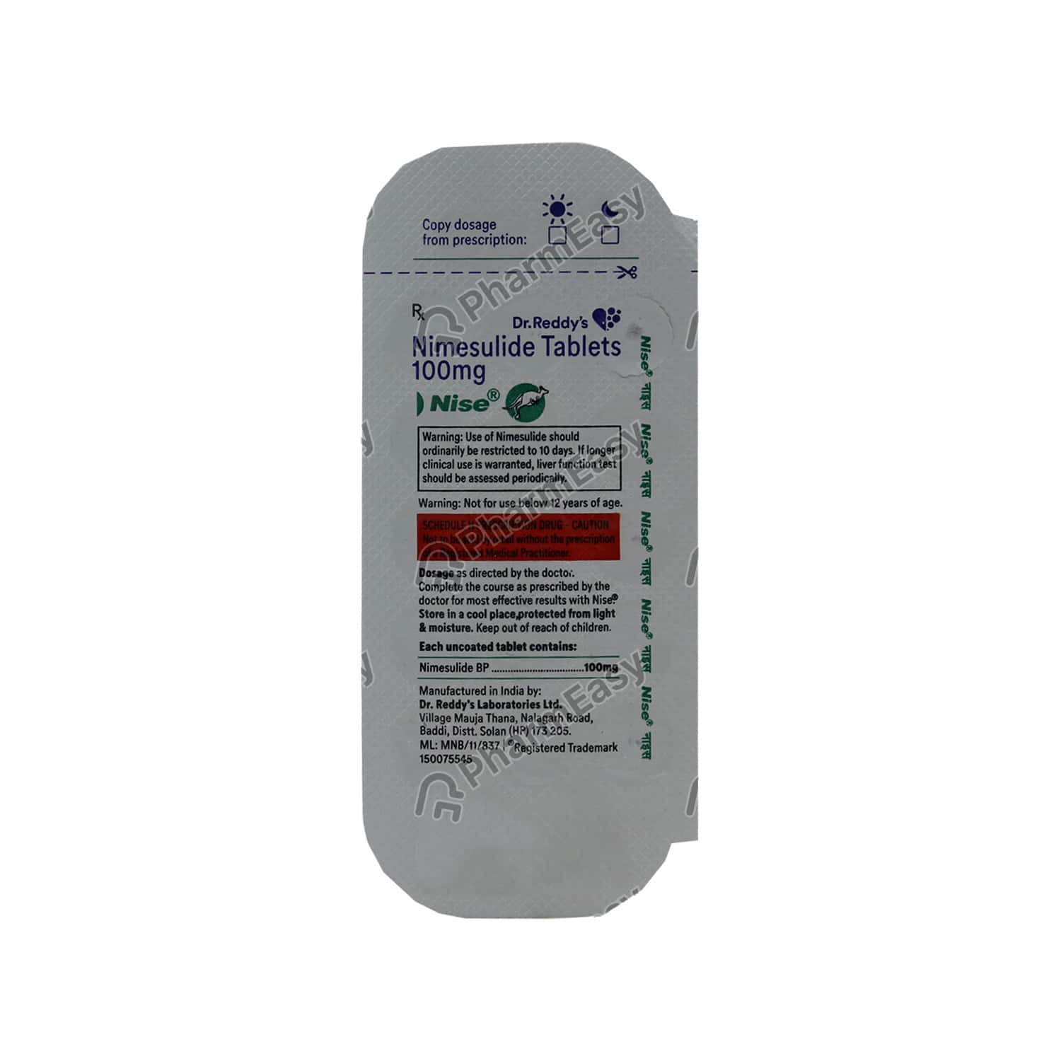 Nise 100mg Strip Of 15 Tablets