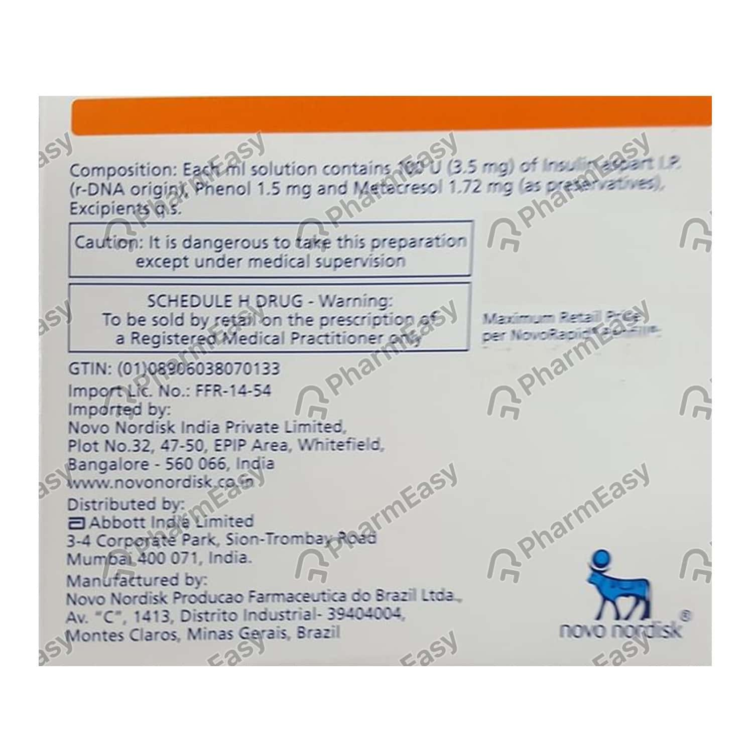 Novorapid Penfill Cartridge Of 3ml Solution For Injection