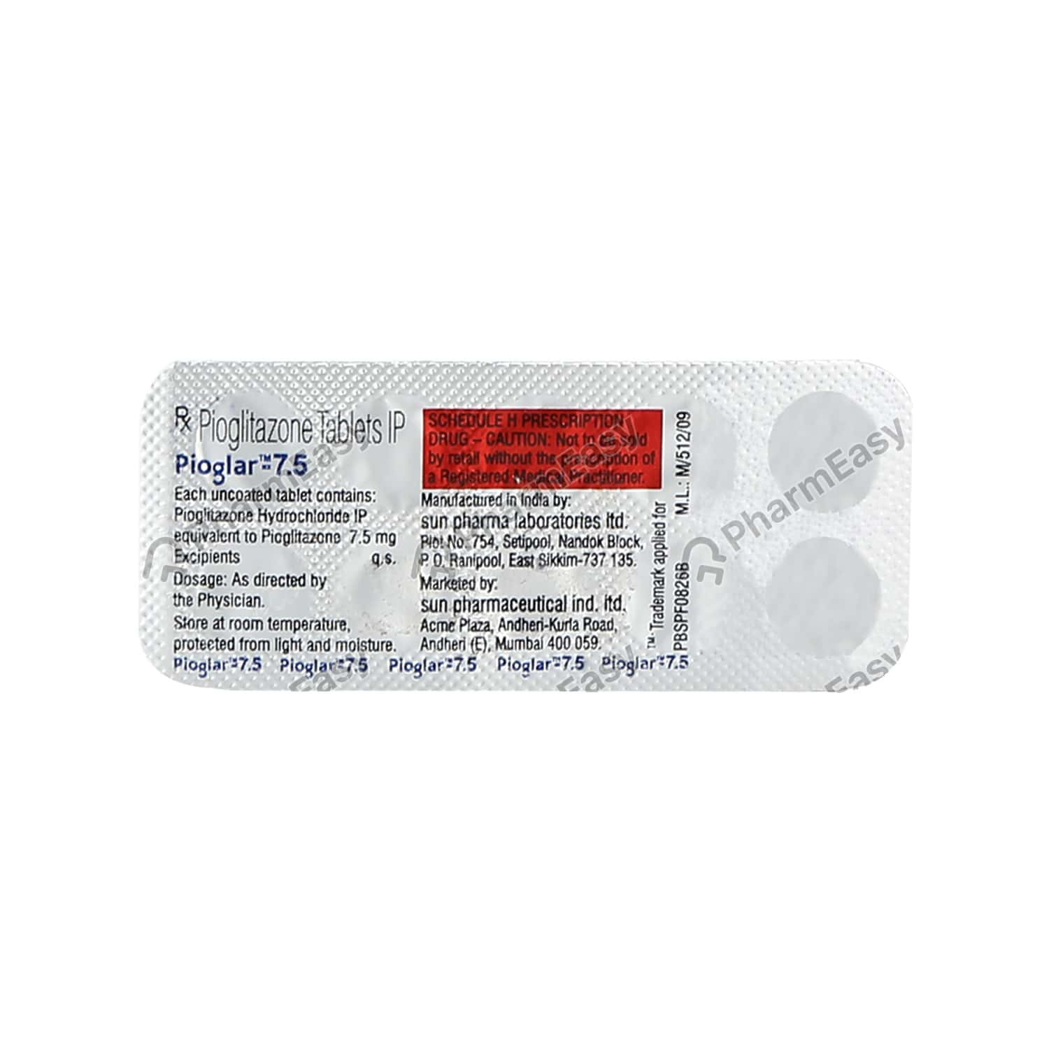 Pioglar 7.5mg Strip Of 10 Tablets