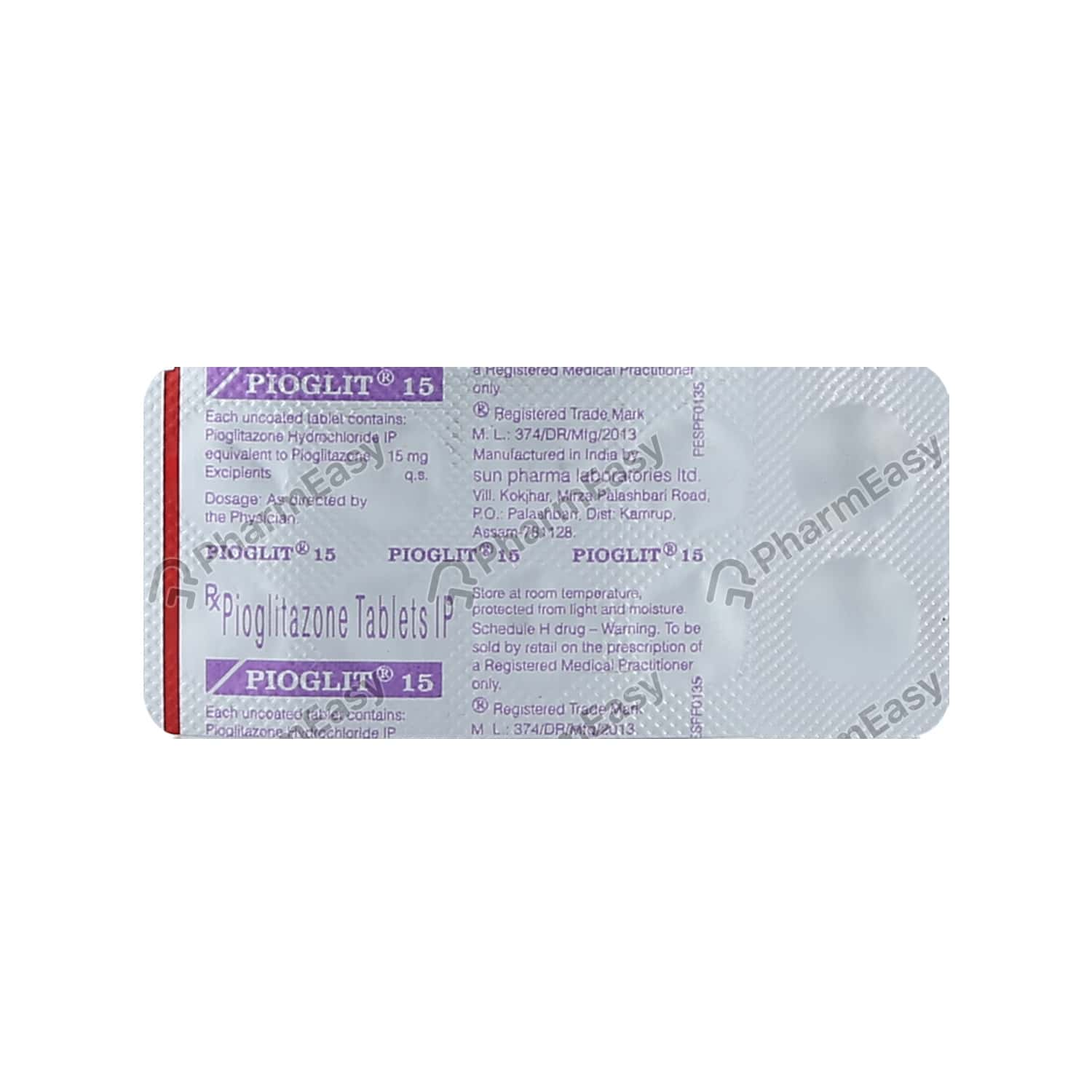 Pioglit 15mg Tablet