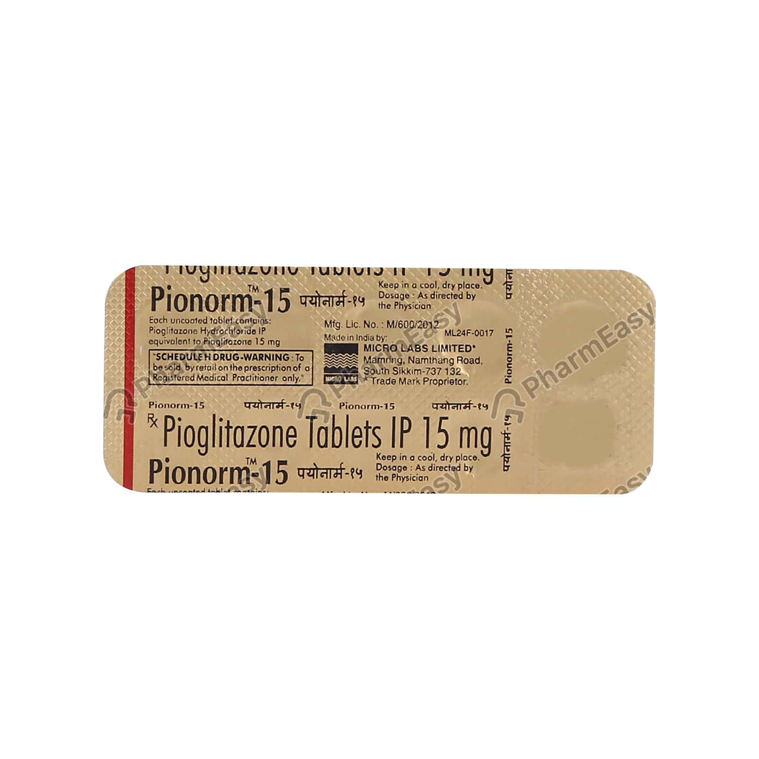 Pionorm 15mg Tablet