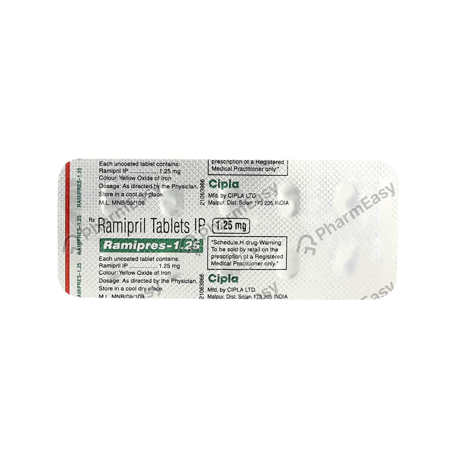 Ramipres 1.25mg Tablet