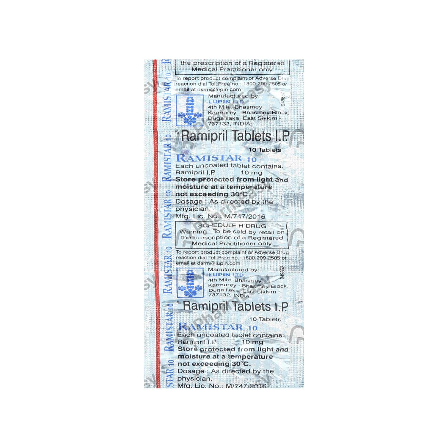 Ramistar 10mg Strip Of 10 Tablets
