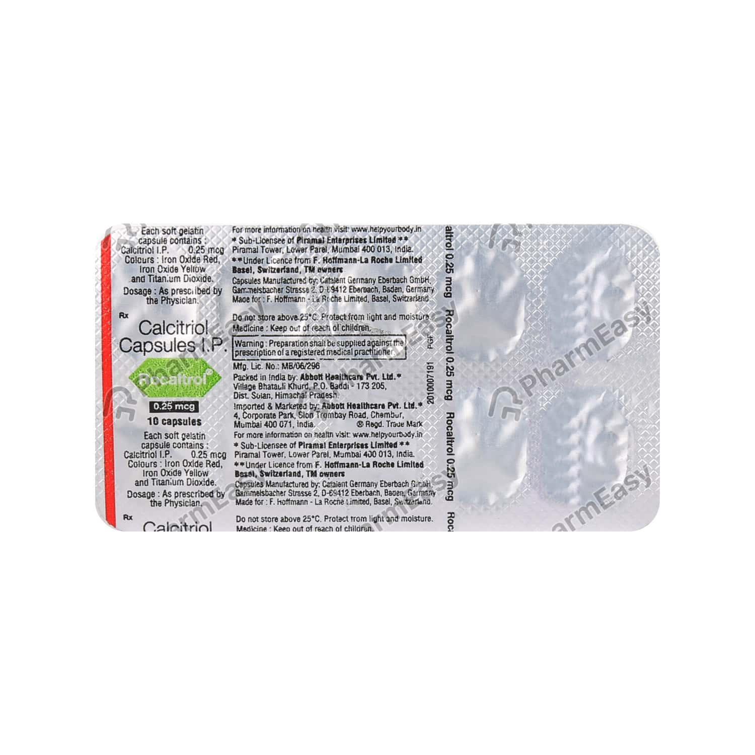 Rocaltrol 0.25mcg Strip Of 10 Capsules