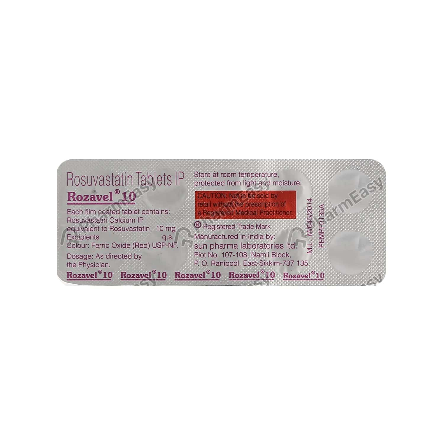 Rozavel 10mg Strip Of 10 Tablets