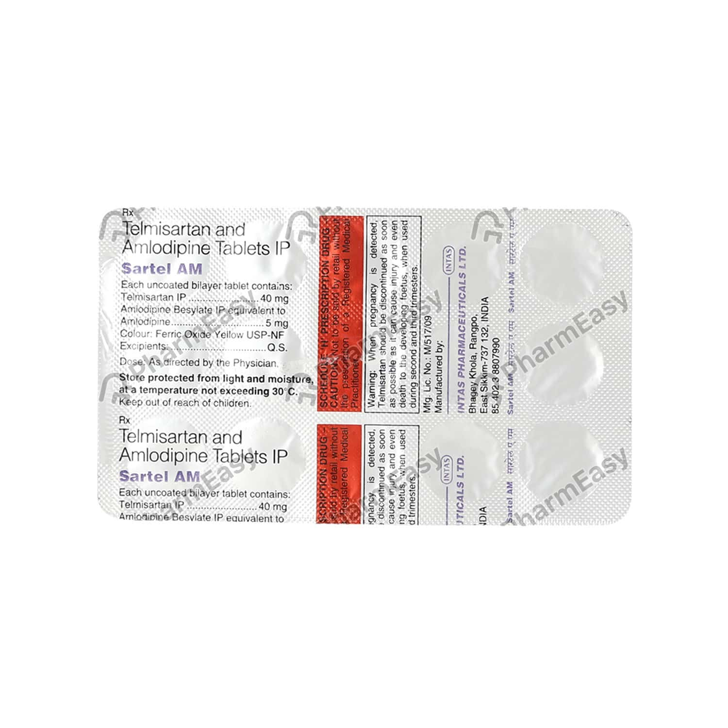 Sartel Am 40mg Strip Of 15 Tablets