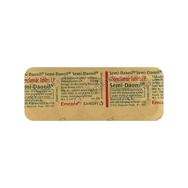 Semi Daonil 2.5mg Strip Of 10 Tablets