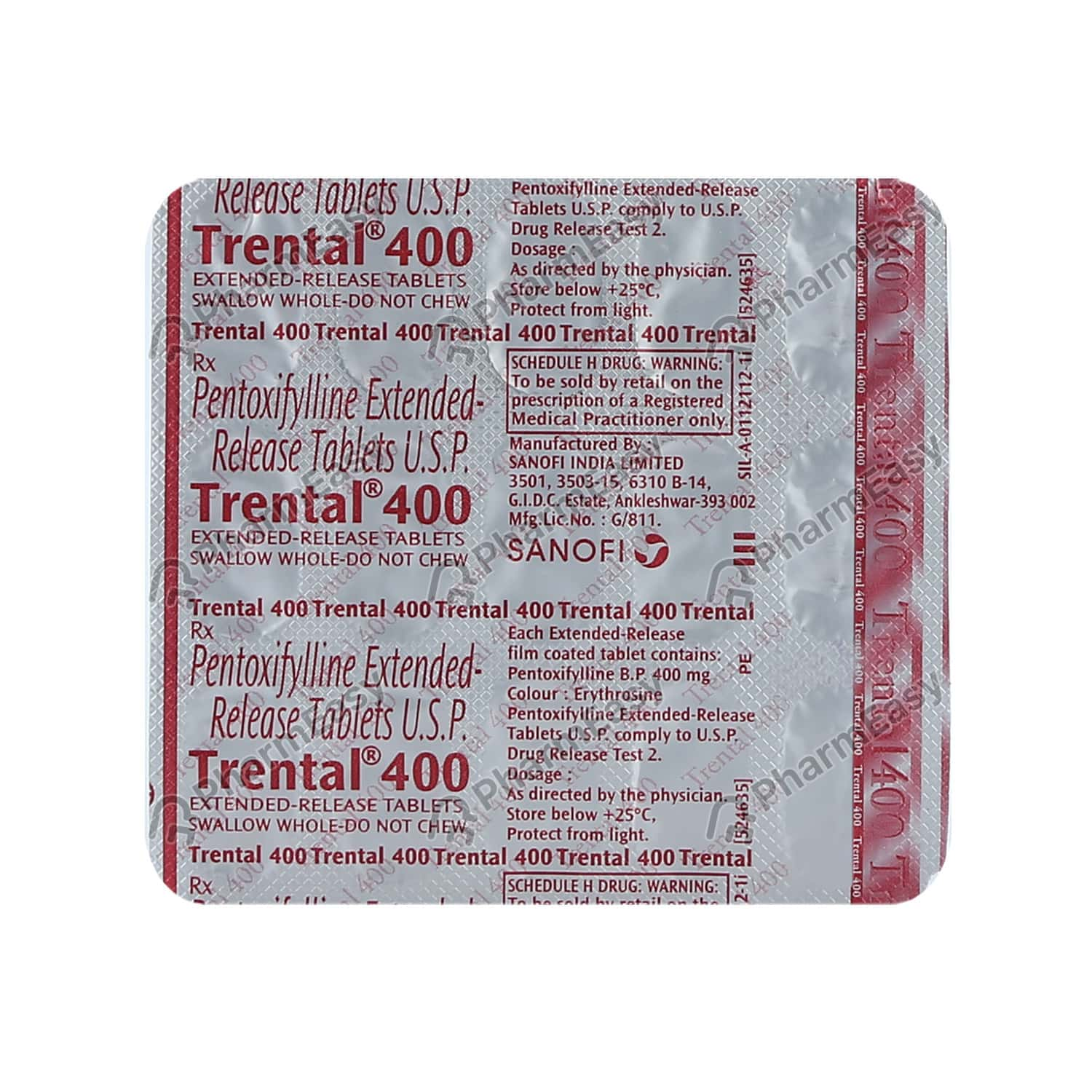 Trental 400mg Strip Of 15 Tablets