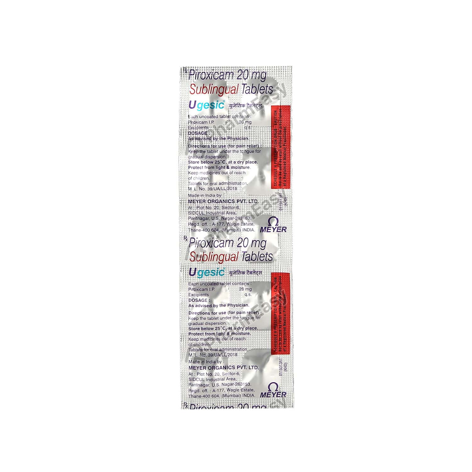 Ugesic 20mg Strip Of 10 Tablets
