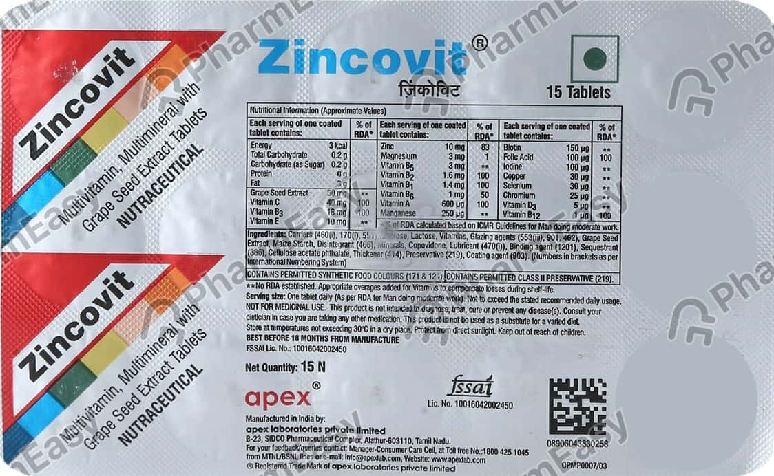 Zincovit Strip Of 15 Tablets (green)