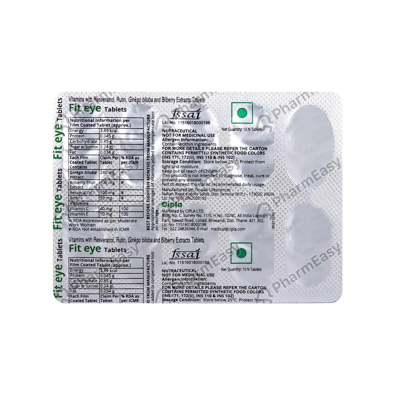Fit Eye Tablet 10's