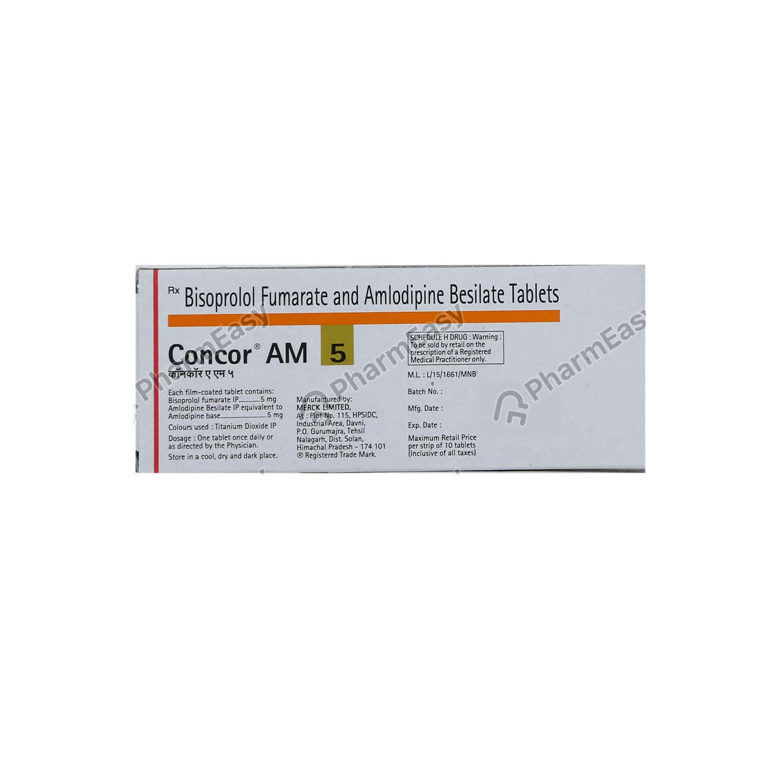 Concor Am 5mg Strip Of 10 Tablets