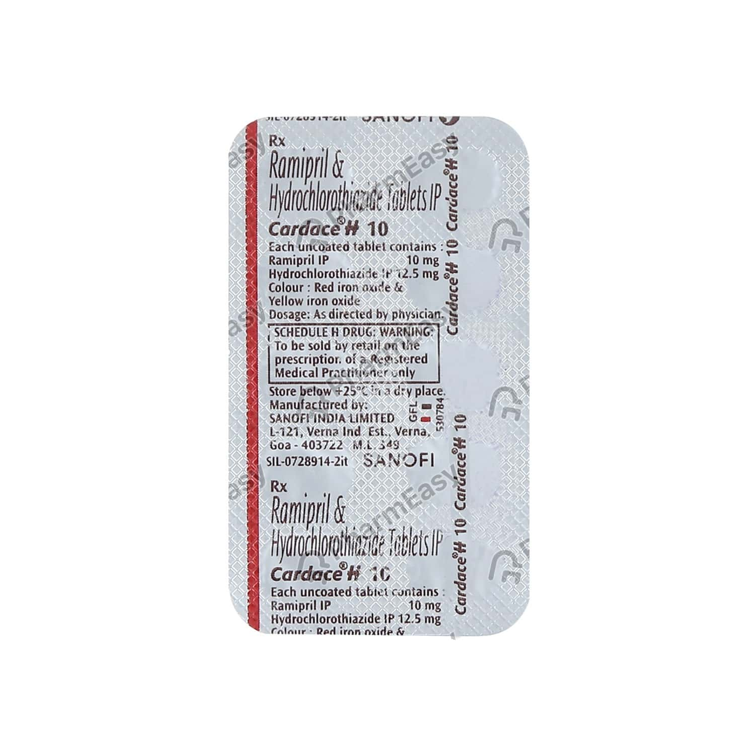 Cardace H 10mg Strip Of 10 Tablets