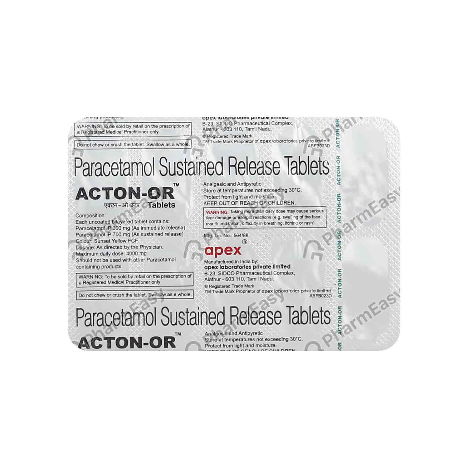 Acton Or 1gm Strip Of 10 Tablets