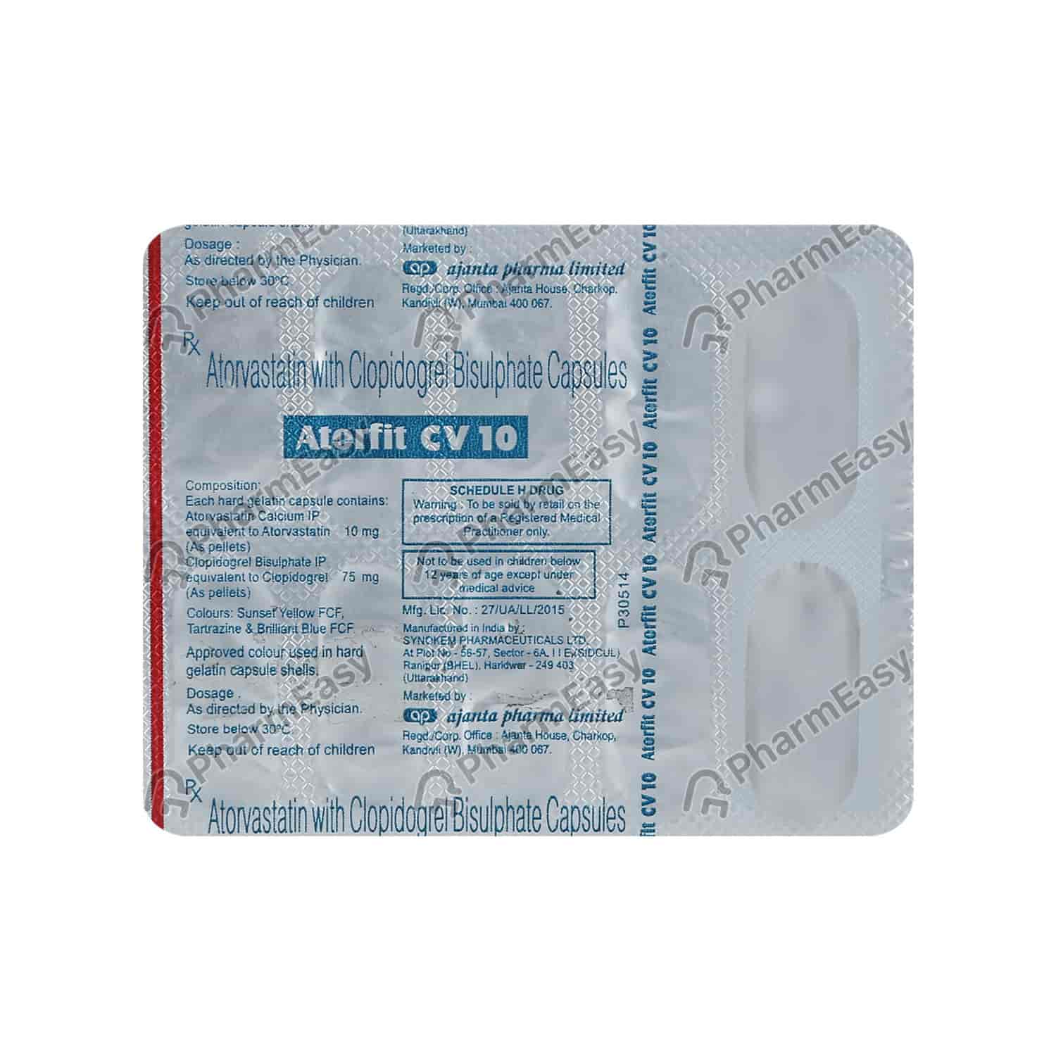 Atorfit Cv 10mg Strip Of 10 Capsules