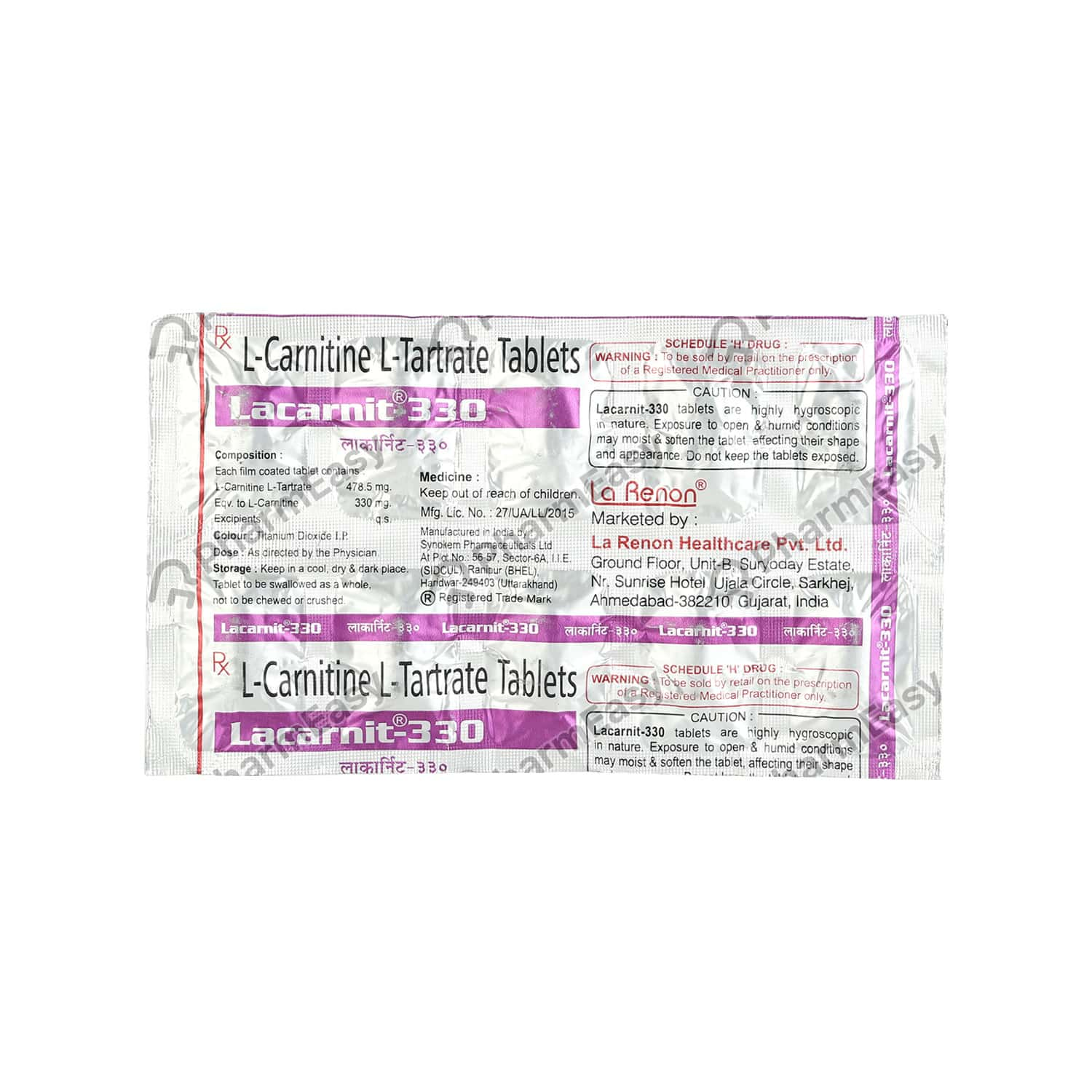 Lacarnit 330 Strip Of 10 Tablets