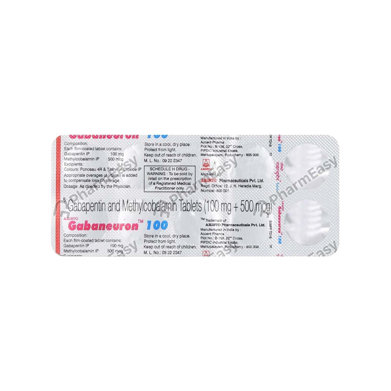 Gabaneuron 100mg Strip Of 10 Tablets