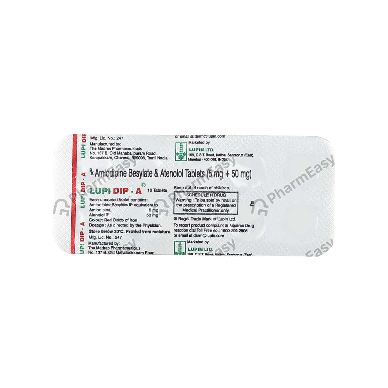 Lupidip A Strip Of 10 Tablets