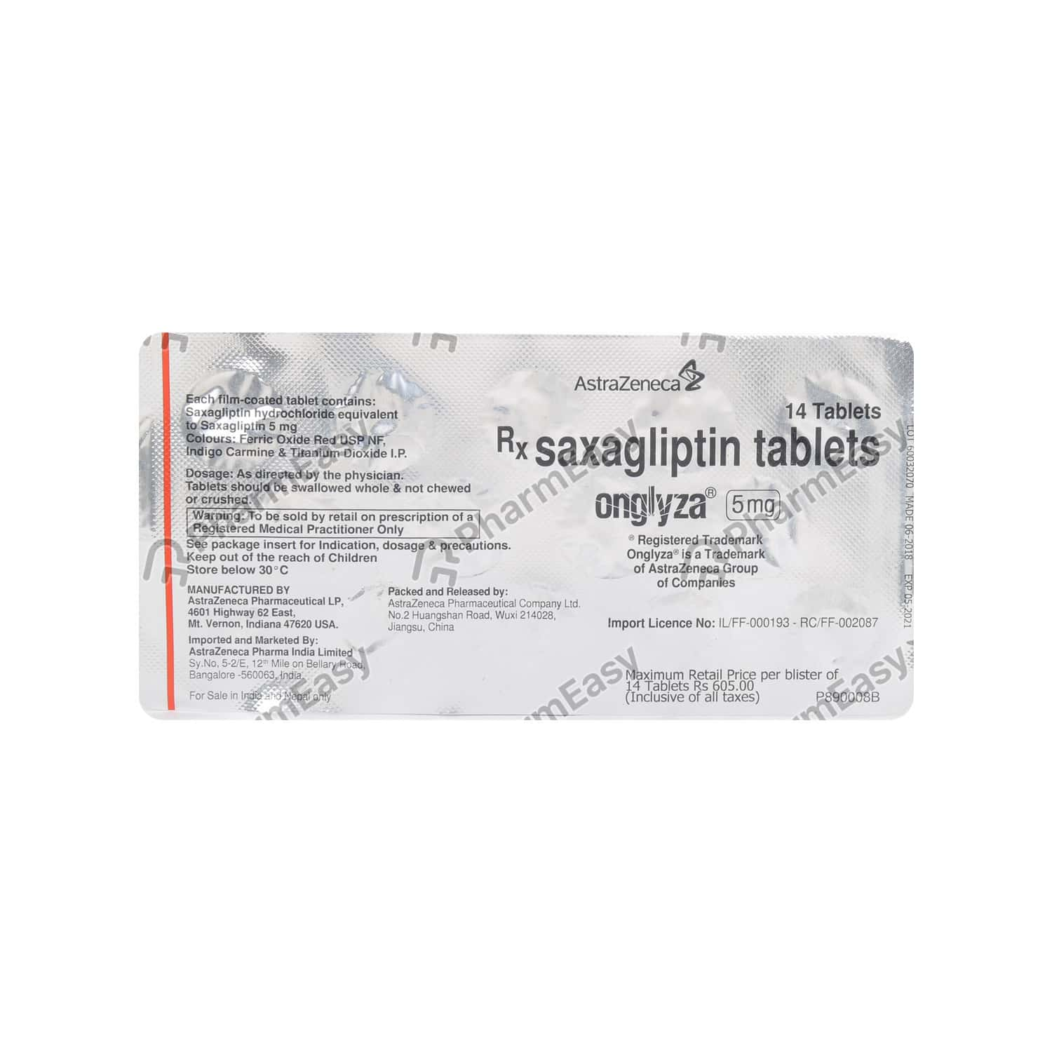 Onglyza 5mg Strip Of 14 Tablets