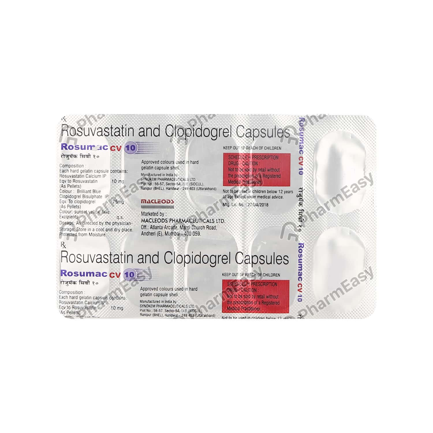 Rosumac Cv 10mg Strip Of 10 Capsules
