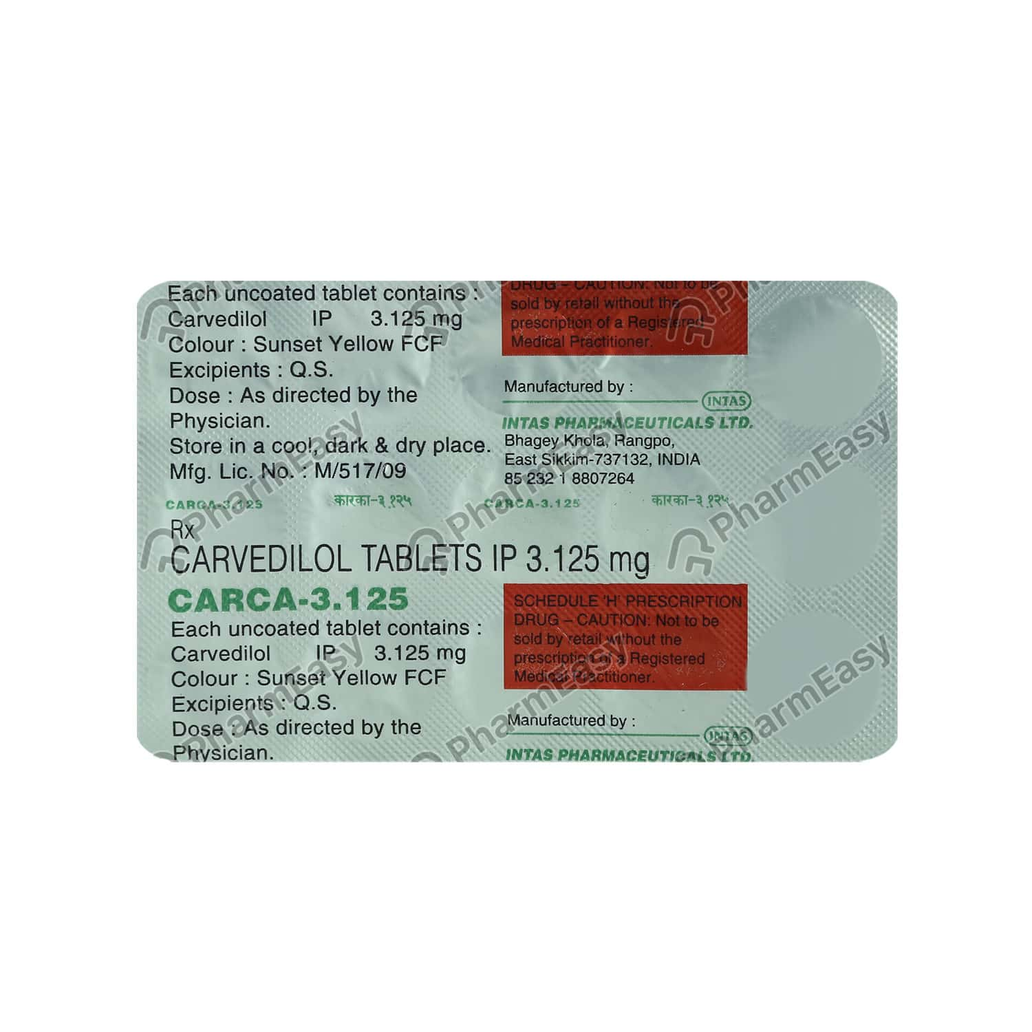 Carca 3.125mg Strip Of 15 Tablets