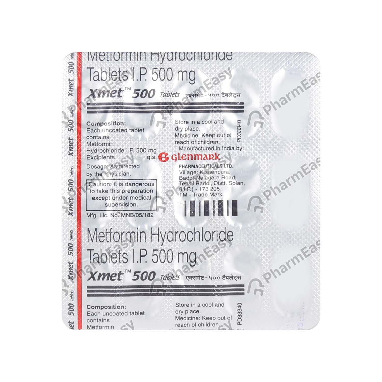 Xmet 500mg Strip Of 15 Tablets
