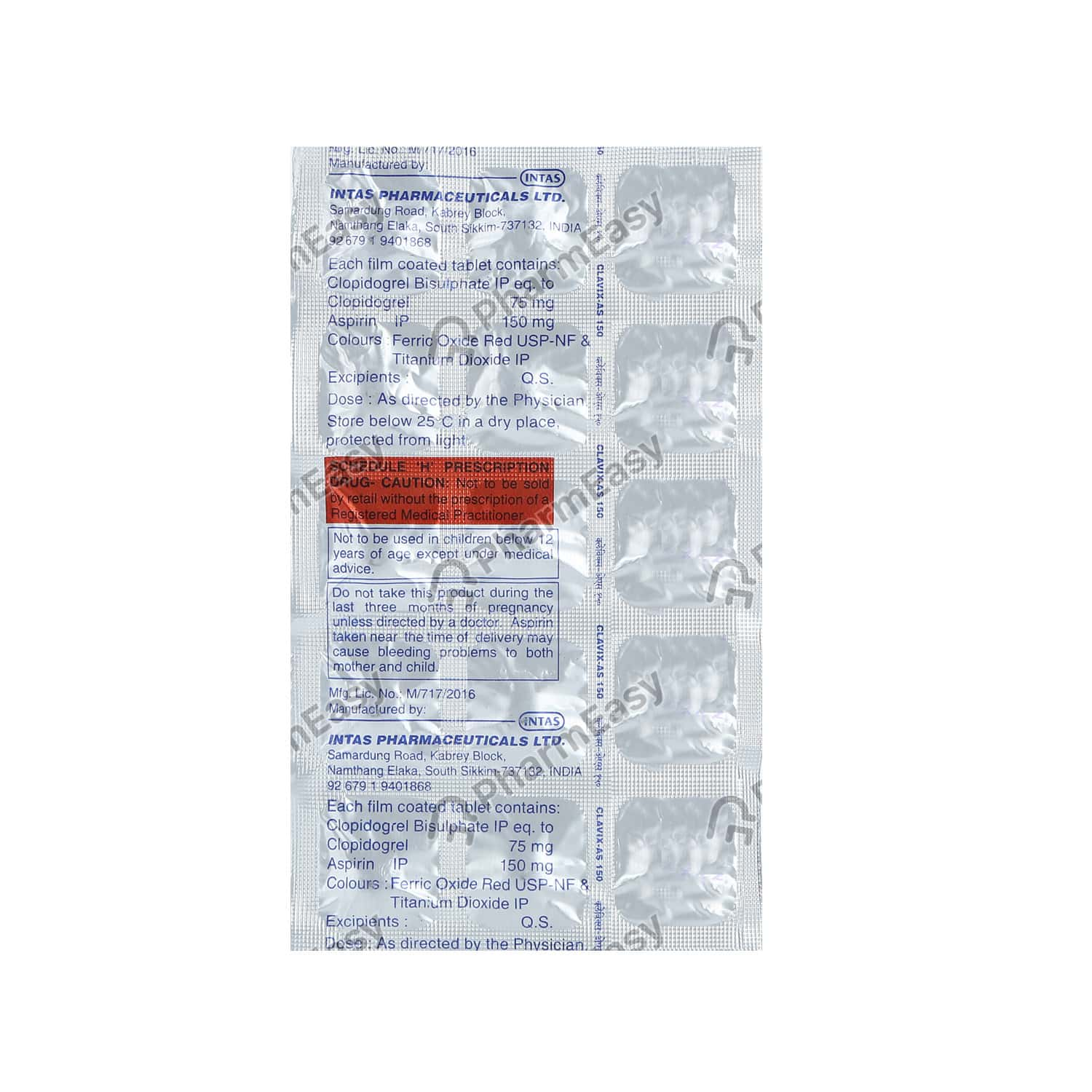 Clavix As 150mg Strip Of 15 Tablets